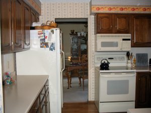 A photo of an old and outdated kitchen before K&V Homes completed a remodel.