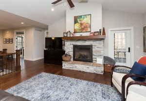 A living room with a fireplace, TV, and a speckled blue rug.