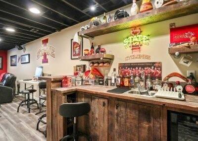 Basement bar, Iowa State themed