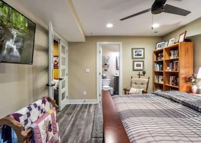 Basement bedroom and bath
