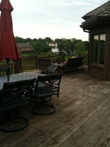 Before picture of old worn deck