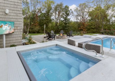 Backyard spa and pool setting with outdoor television, fire pit, mature trees and concrete patio.